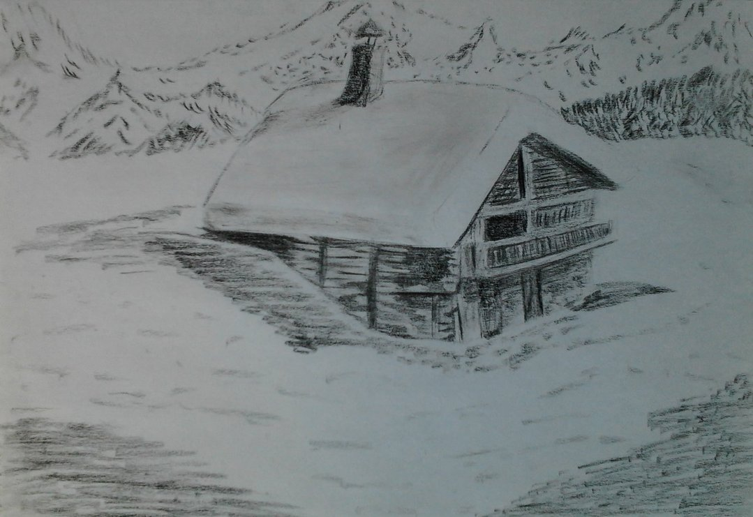 1079x741 Mountain Cottage With Snow By Mels Drawing