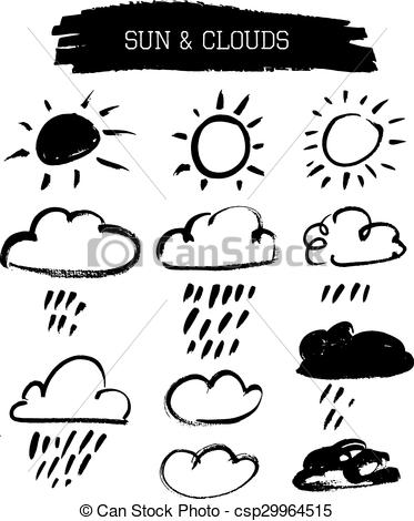 373x470 Doodle Grunge Sun And Clouds. Set Of Grunge Vector Brushed