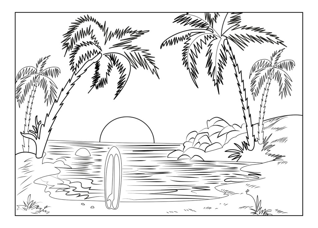 1024x734 Collection Of Ocean Sunset Coloring Pages High Quality, Free