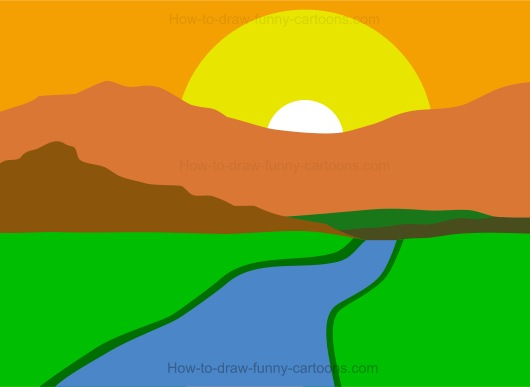 530x387 Collection Of Basic Sunset Drawing High Quality, Free
