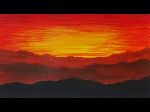 480x360 Acrylic Painting Sunset On The Mountains Landscape Painting