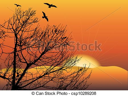 450x338 Black Tree In Sunset With Hills And Sun Vector Clipart