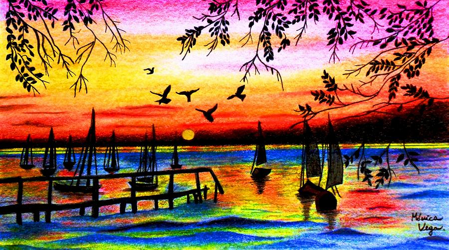 900x501 Sunset Drawing By Monica Vega