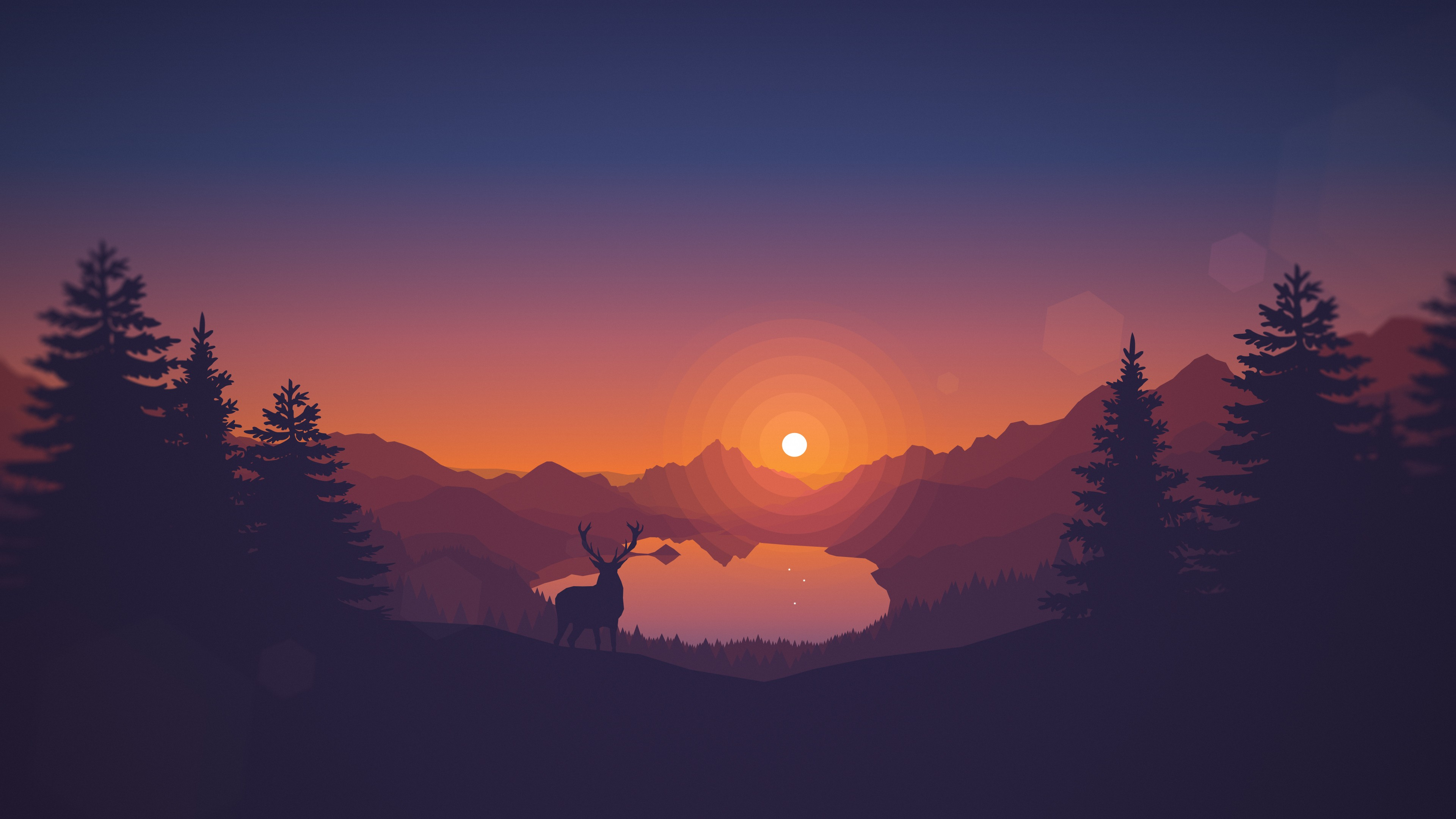 3840x2160 Wallpaper Landscape, Drawing, Deer, Digital Art, Animals, Video