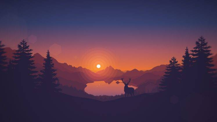 748x421 Sunset, Drawing, Animals, Lake, Landscape, Deer, Artwork