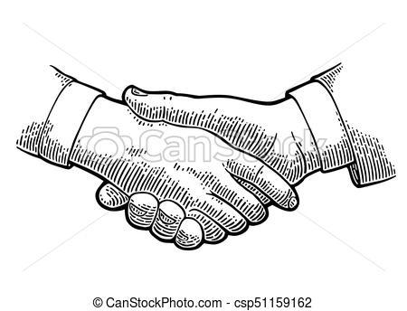 450x344 Handshake. Vector Black Vintage Engraving Illustration Isolated