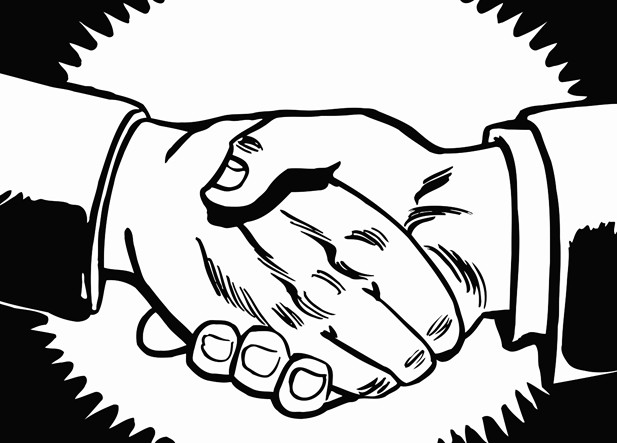 617x443 Two Men Shaking Hands Printable Image Illustration Sketch For Two
