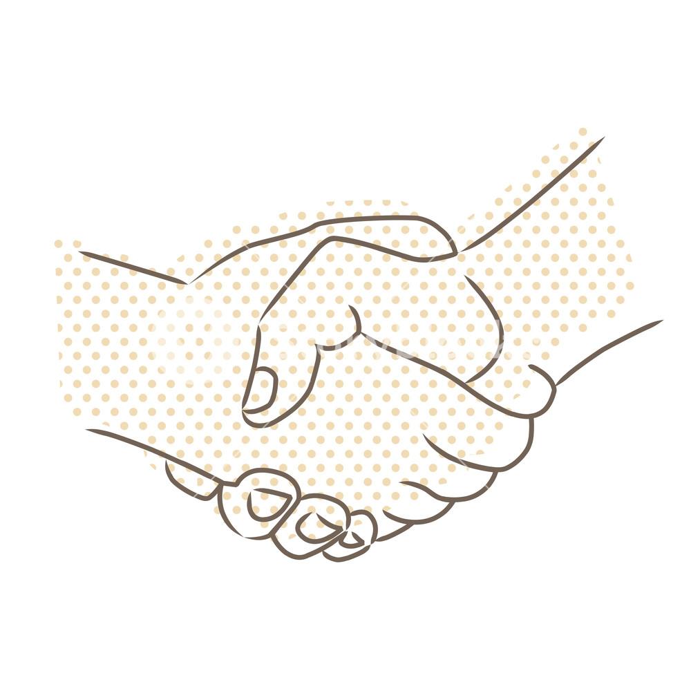 1000x1000 Vector Drawing Of Handshake Royalty Free Stock Image