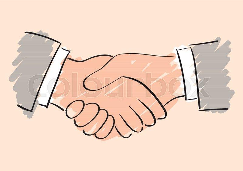 800x565 Vector Sketch Drawing Of Handshake. Symbol Of Friendship