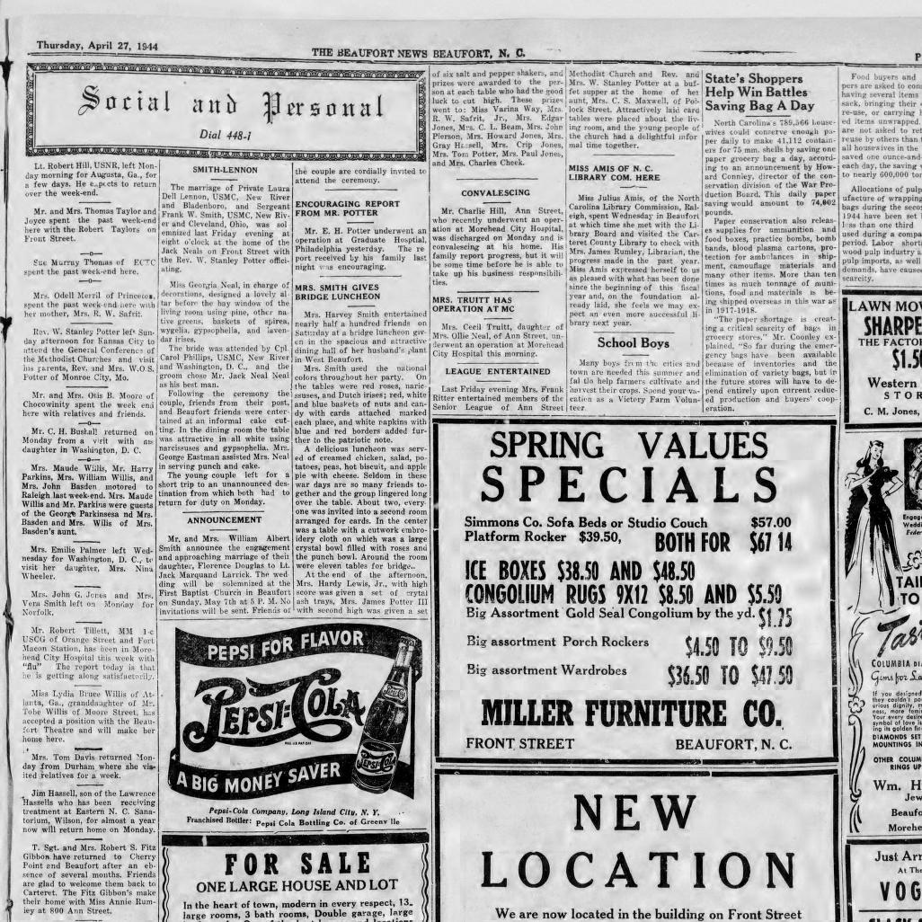 1026x1026 The Beaufort News. (Beaufort, N.c.) 1912 1948, April 27, 1944