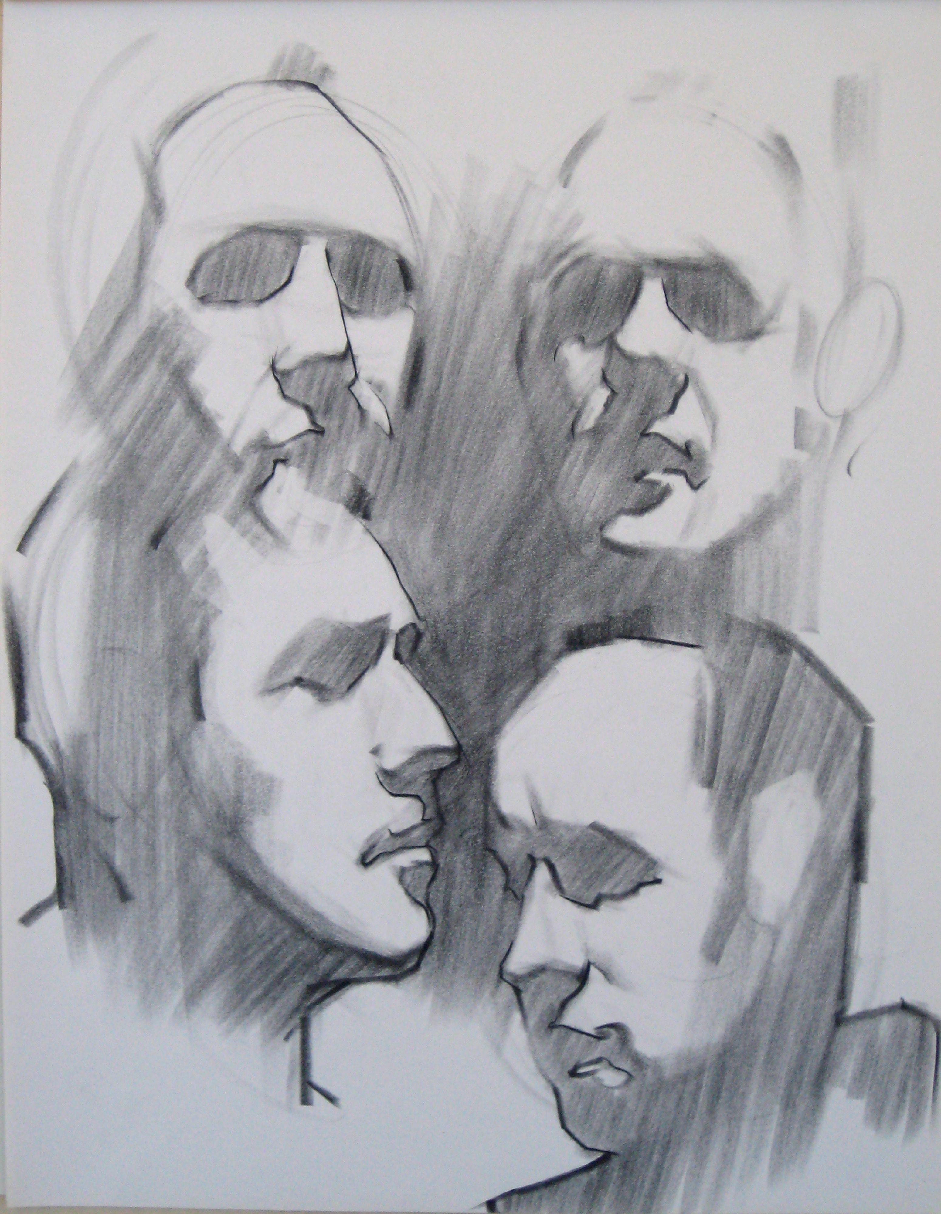 3100x4000 4 Five Min Heads Charcoal On Newsprint Drawings, Class Demos