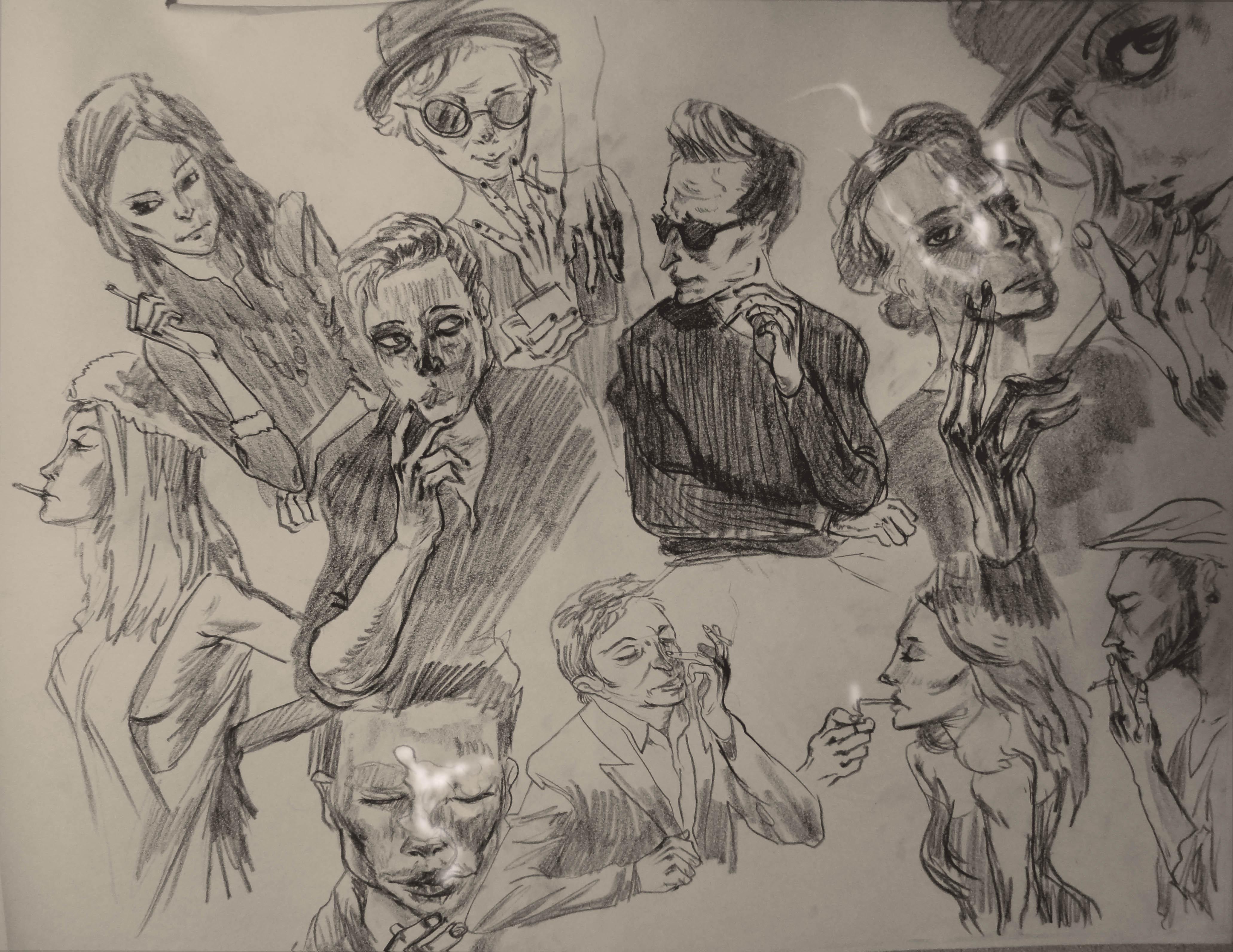 4124x3185 Drawing Smokers On Newsprint Salehin Nobi Portfolio