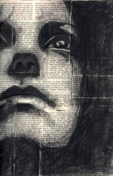 387x604 Drawing Charcoal On Newspaper. Art Decoration Design