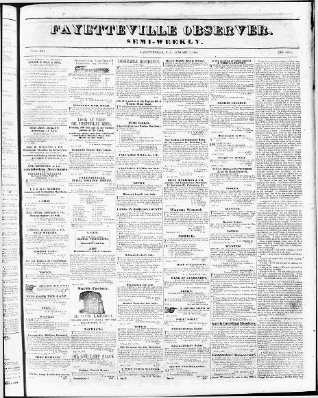 464x581 Fayetteville Observer. (Fayetteville, N.c.) 1851 1865, January 05