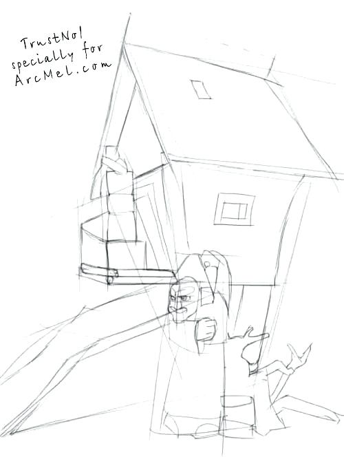 500x667 How To Draw A House Plus How To Draw A Hut On Hens Legs Step By