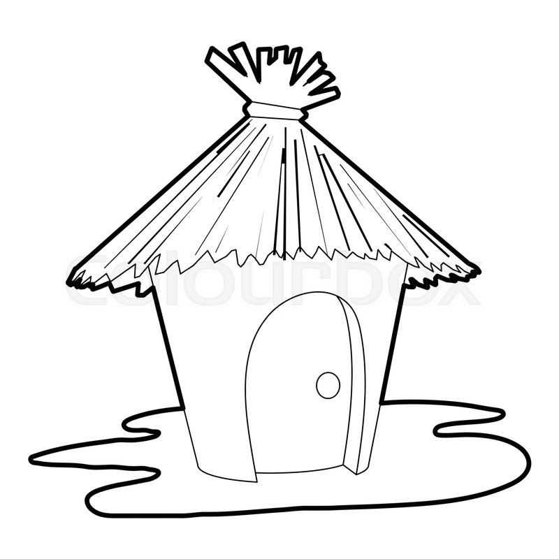 800x800 Hut Icon. Outline Illustration Of Hut Vector Icon For Web Stock