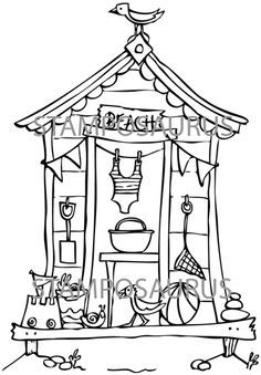 236x339 Line Drawings, Template, Papercraft, Beach Huts Sketches