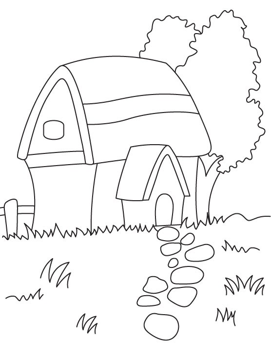 556x737 Lovely Pizza Hut Coloring Pages African Hut Drawing