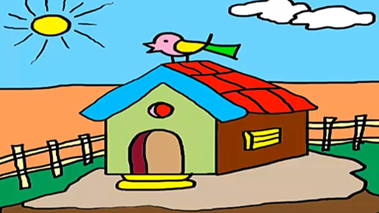 1280x720 Coloring For Kids, How To Draw A House, Hut Drawing For Children