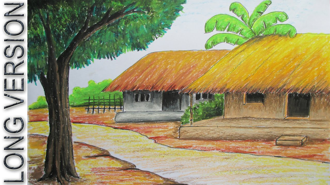 1280x720 How To Draw Village Hut With Pastel Color [Long Version]