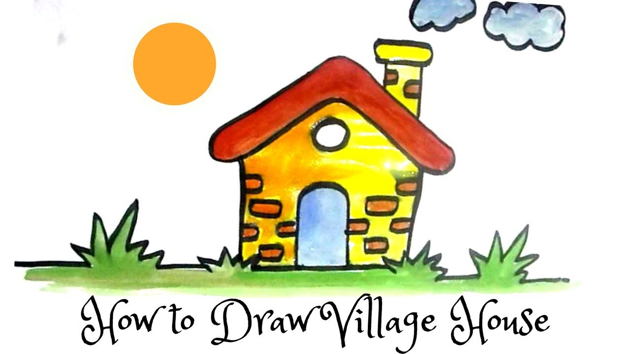 1280x720 How To Draw A Cartoon Village House Cartoon Hut Drawing (Step By