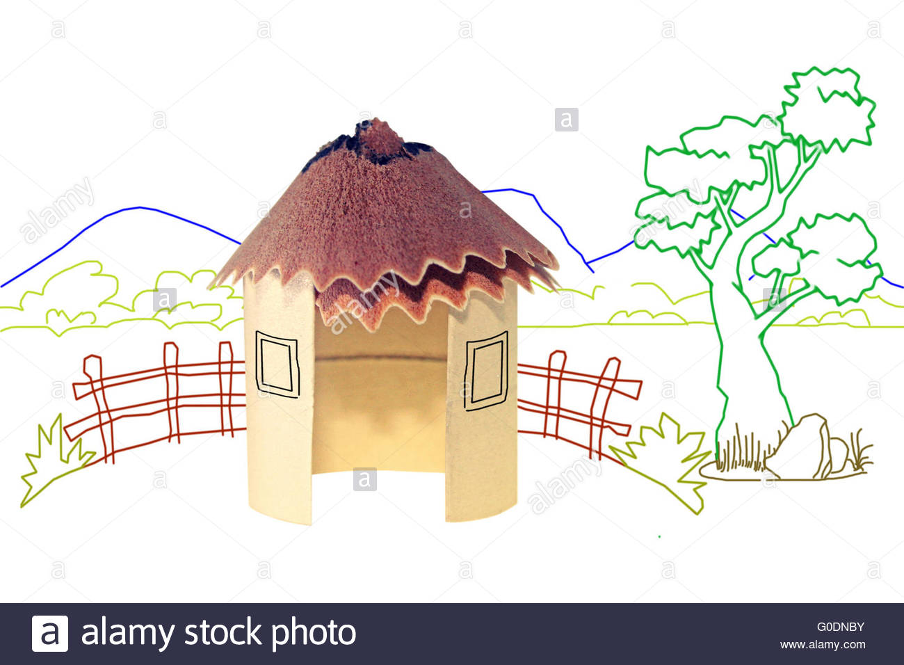 1300x956 Paper Hut, Pencil Shavings Roof With Line Drawing Background Stock