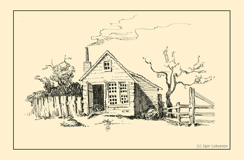 800x524 Village Hut Drawing