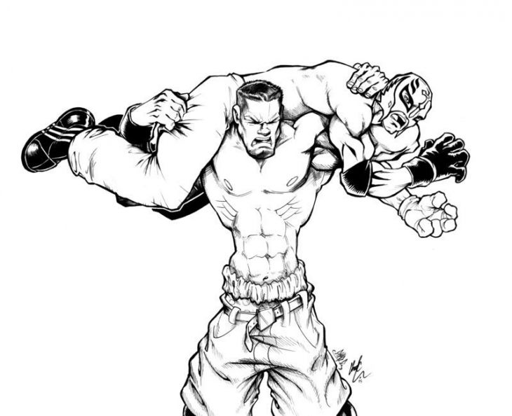 730x594 John Cena Vs. Rey Mysterio In Wwe Coloring Pages Sports Coloring