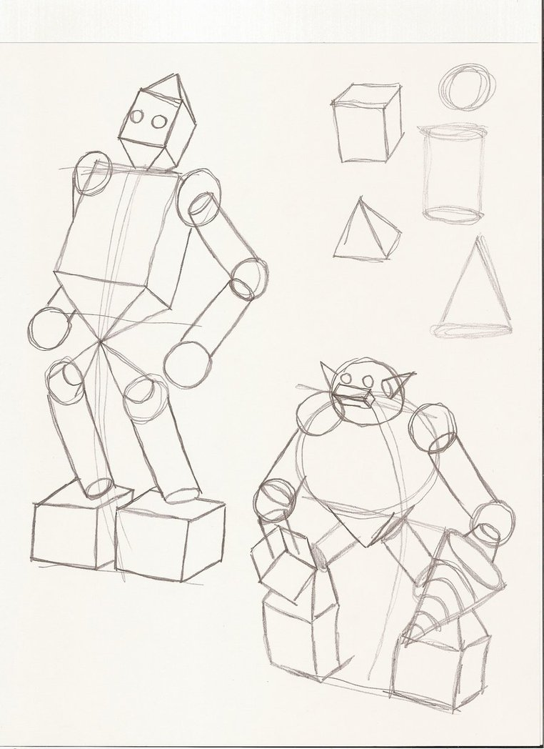 762x1048 Collection Of Robot Drawing Using Shapes High Quality, Free