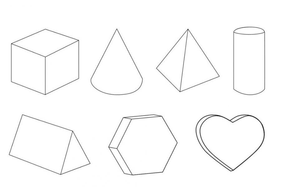 900x600 3d Geometric Shapes Coloring Pages