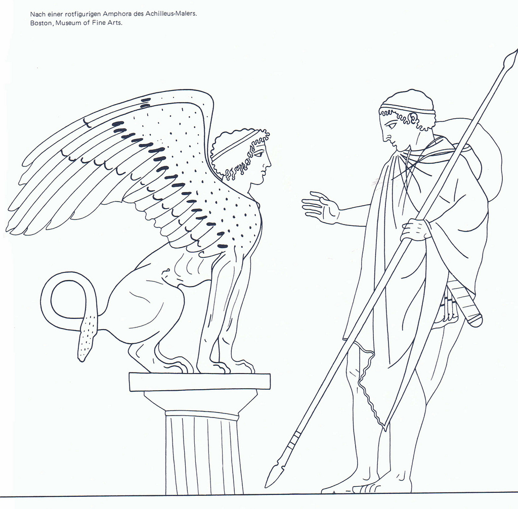 1024x1007 Oedipus Solves The Riddle Of The Theban Sphinx Red
