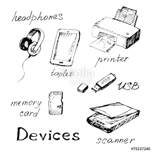 500x500 Hand Draw Computer Devices. Stock Image And Royalty Free Vector