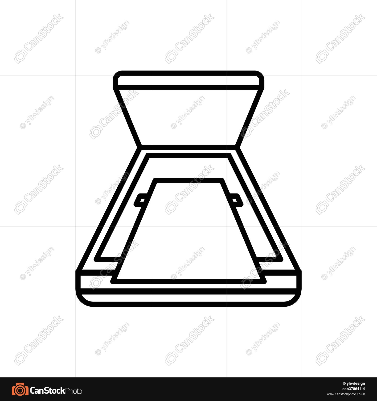 1600x1700 Open Scanner Icon, Outline Style. Open Scanner Icon In Vector