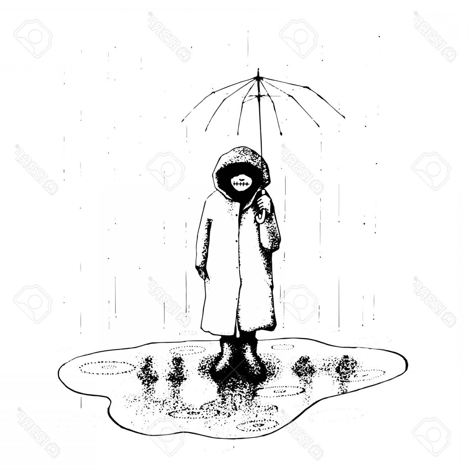 1560x1560 Photostock Vector Girl Stand Alone In The Rain With Umbrella
