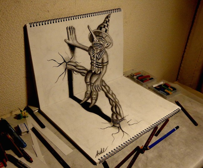 650x539 Artist Tricks Your Eyes Into Seeing 3d, When The Drawings Are