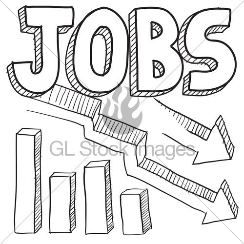 500x500 Jobs Decreasing Sketch Gl Stock Images