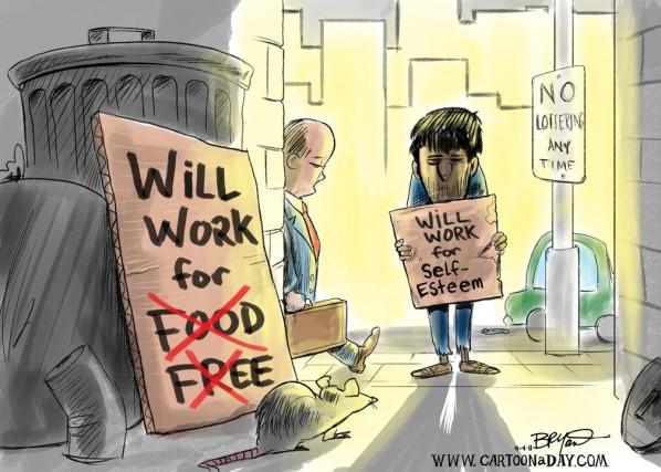 598x427 Will Work For Food Unemployment Cartoon Cartoon
