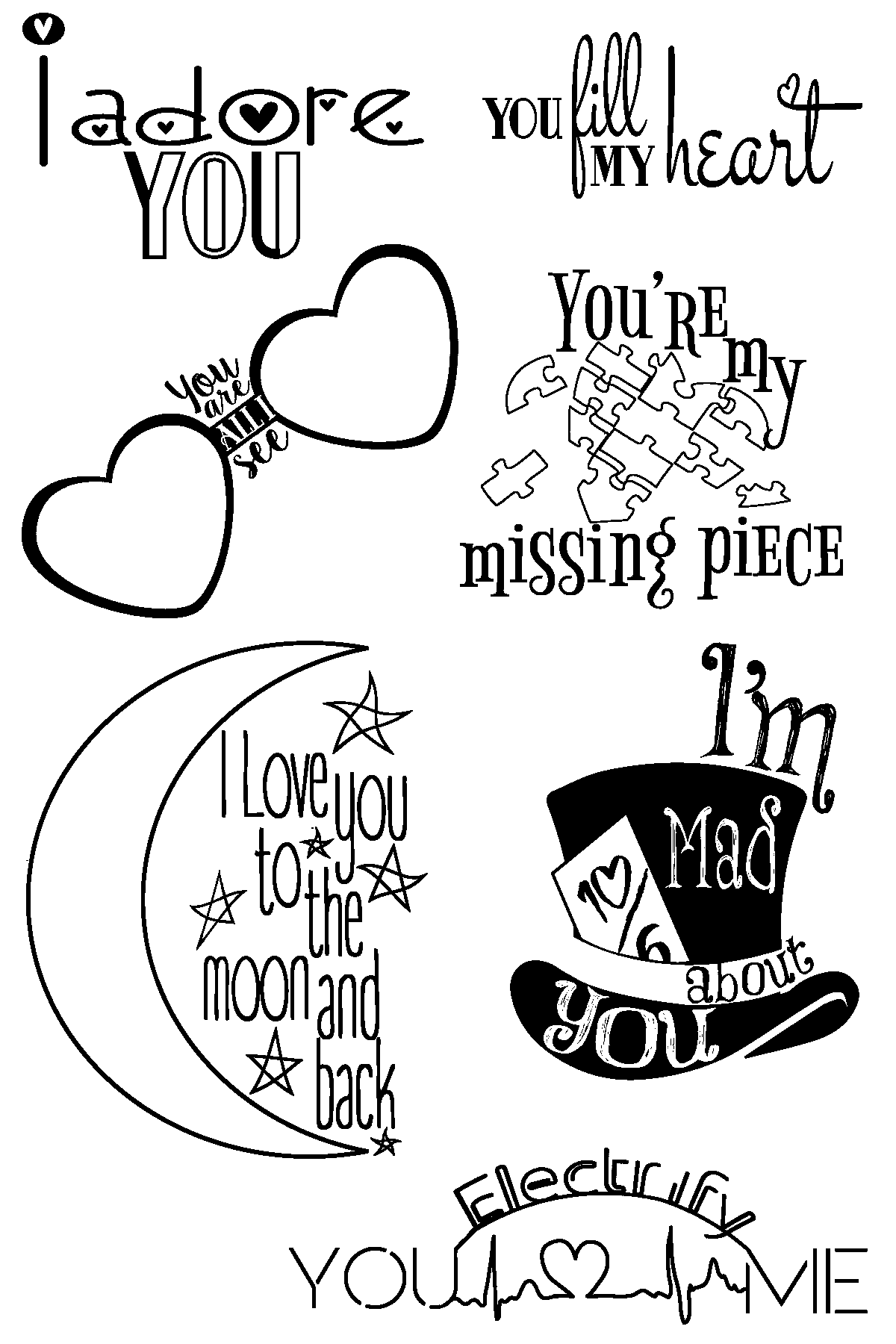 1200x1800 Love Quotes Clear Stamps