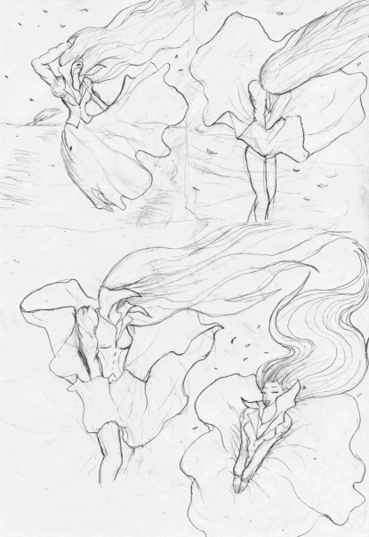 Dress Blowing In The Wind Drawing