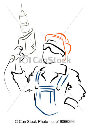 343x470 Man With Drill. Illustration Of Worker With Drill