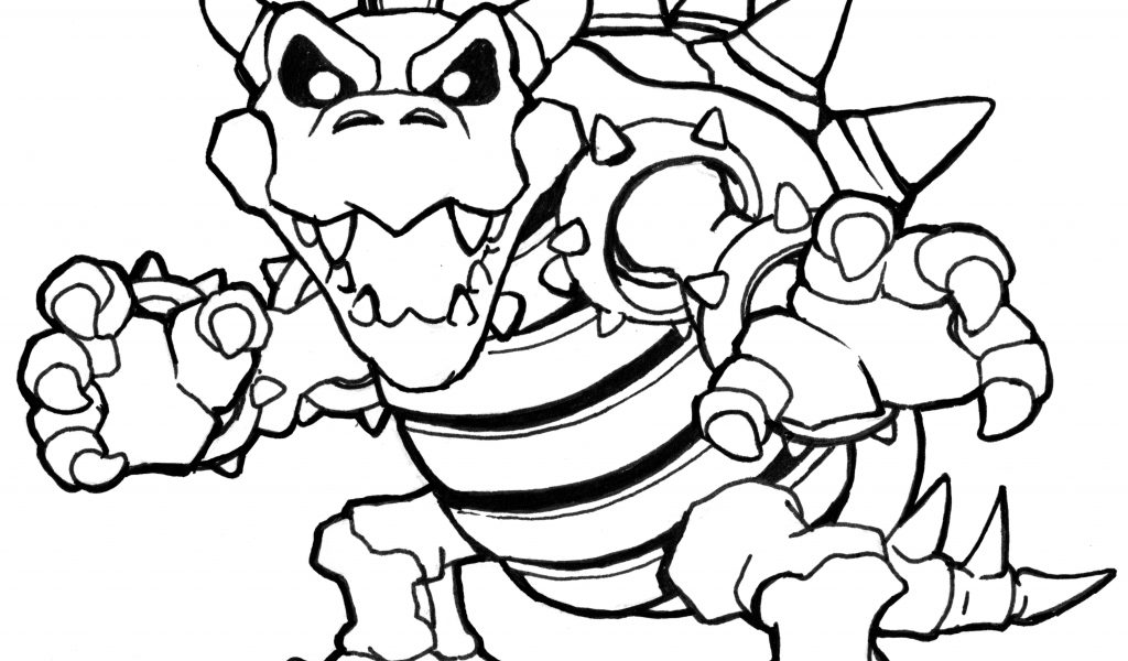 1024x600 Dry Bowser Coloring Pages
