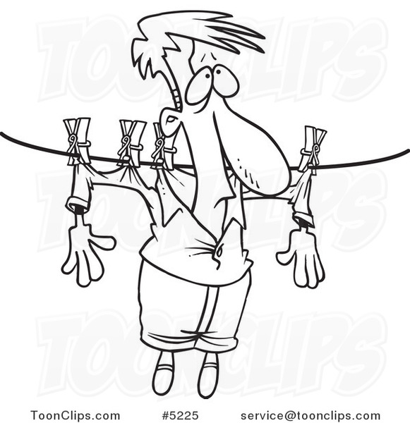 581x600 Cartoon Blacknd White Line Drawing Of Guy Hung Out To Dry On
