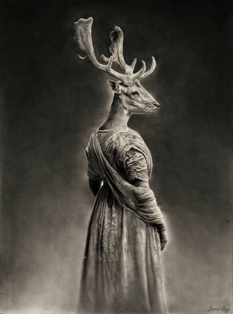 770x1036 Saatchi Art Stag Queen Drawing By Jono Dry