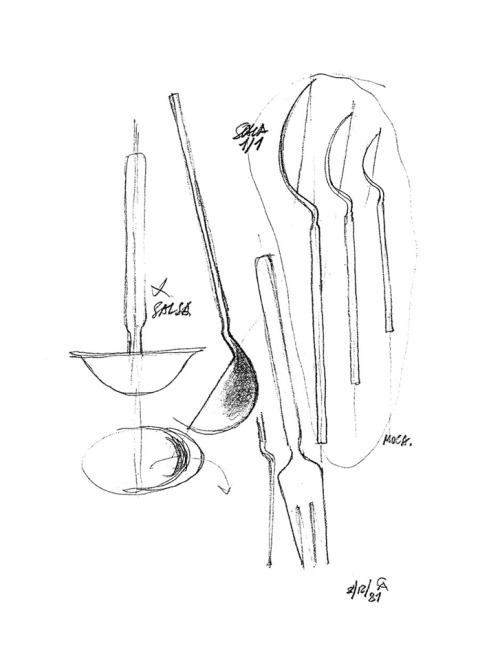 500x665 Design Is Fine. Achille Castiglioni, Sketch For Dry Cutlery Set,