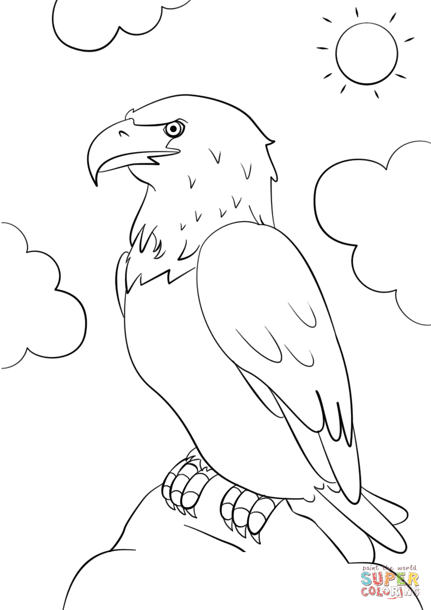 849x1200 Cartoon Eagle Drawing Cartoon Bald Eagle Coloring Page Free