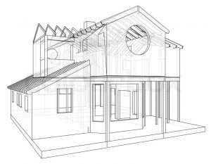 300x233 3d Drawing Of House House Structure Architecture Abstract Drawing