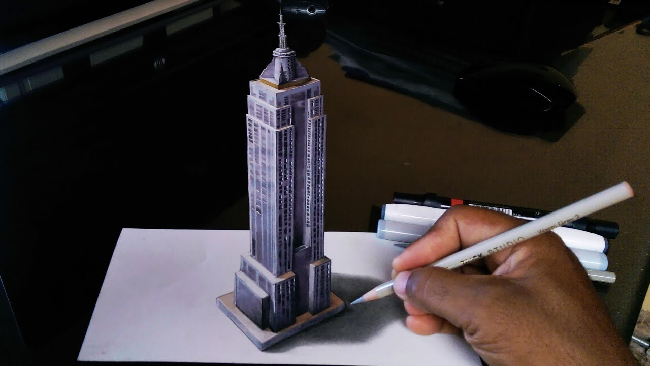 1280x720 How To Draw Empire State 3d Building