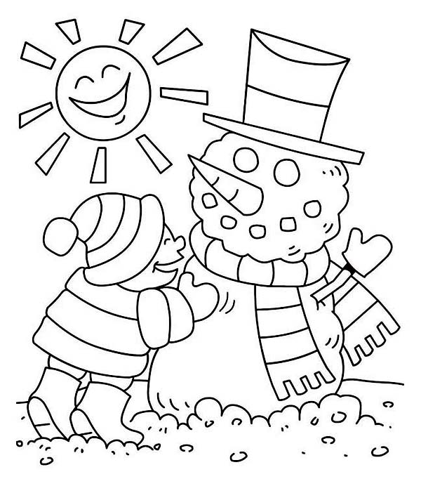 Mr Snowman On Christmas Touching A Snowflake Coloring Page: Easy Drawing Of Winter Season At GetDrawings.com