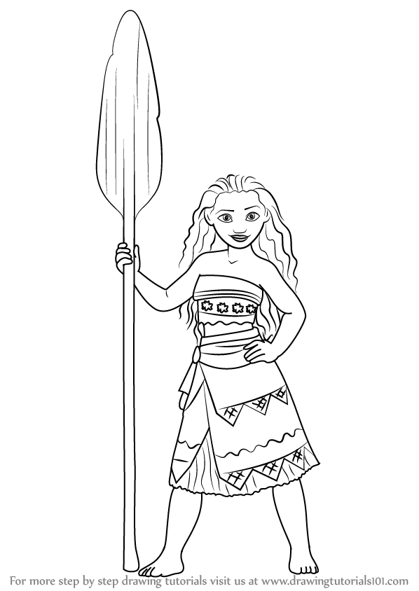 598x844 Learn How To Draw Moana Waialiki From Moana (Moana) Step By Step