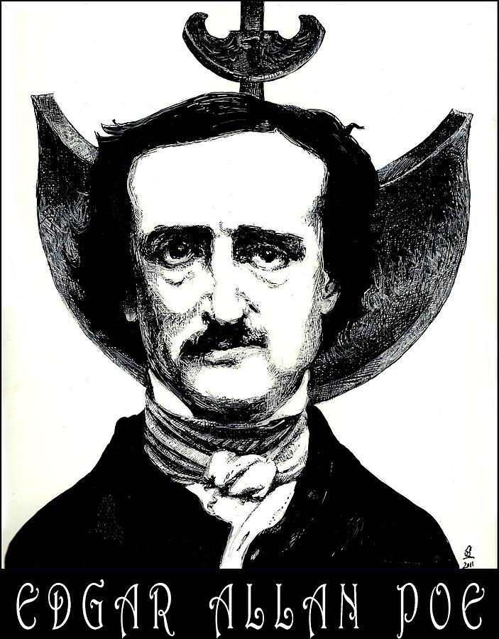 703x900 Edgar Allan Poe Drawing By Cameron Hampton Psa